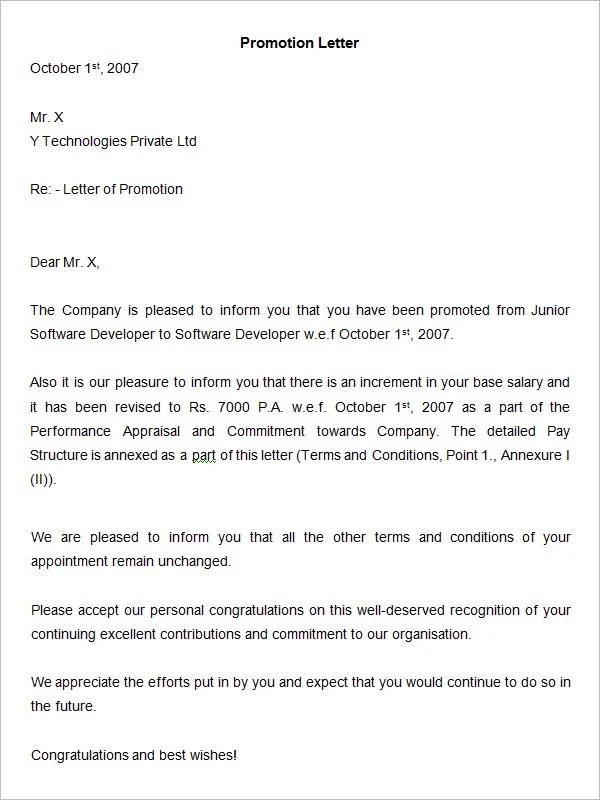 Promotion Letter 100 Original Papers Cover Letter Promotion – Sample Promotion Announcement