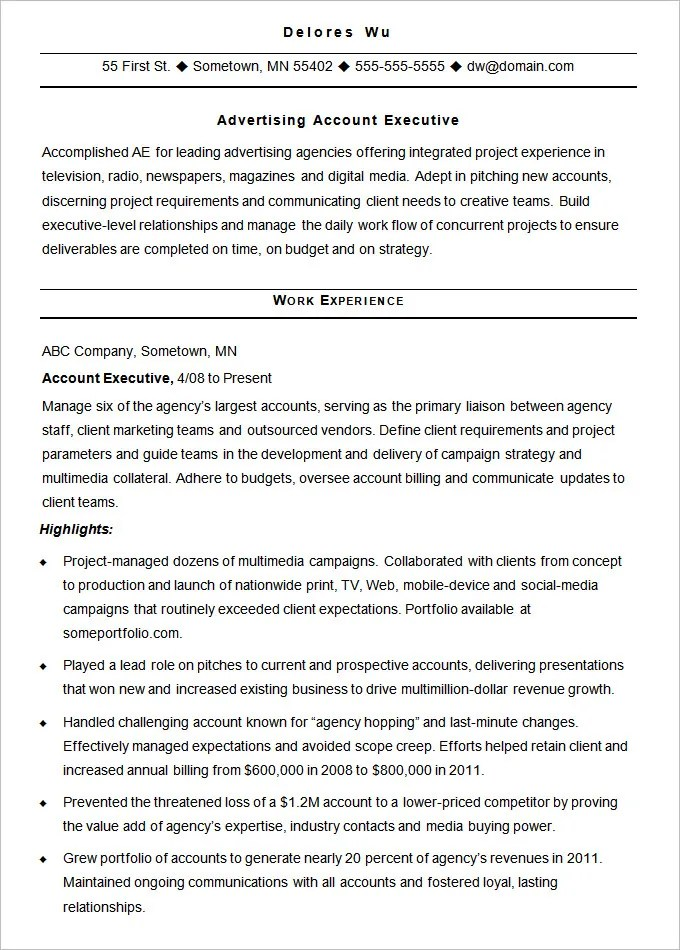 Advertising Resume Template – 16 Free Samples Examples Format