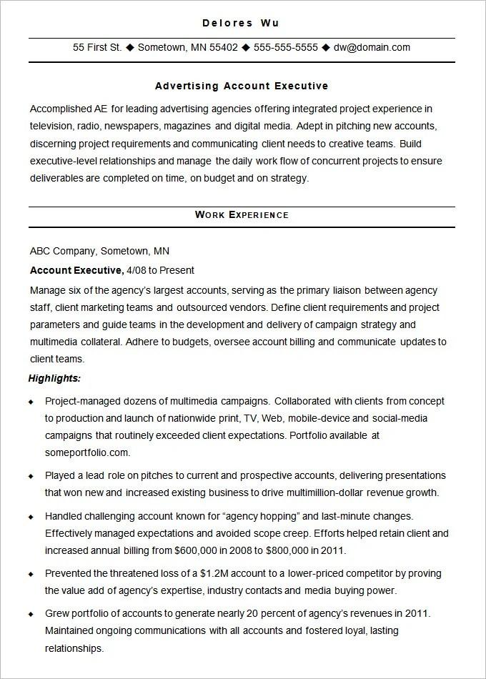 Sample Advertising Resume Advertising Resume Template 16 Free