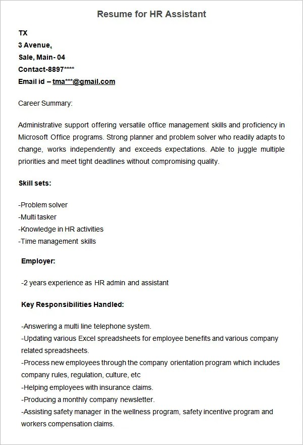 Hr Resume Examples | Inspiredshares.Com. Hr Executive Resume