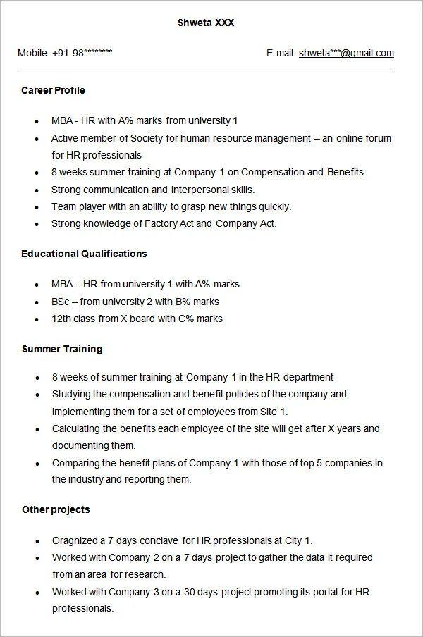 resume headline for mba finance freshers examples