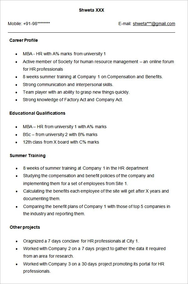 human resources resume samples resume sample