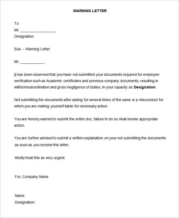 Sample warning letter to employee for gross misconduct sample warning letter notice 35 hr templates free premium spiritdancerdesigns Choice Image