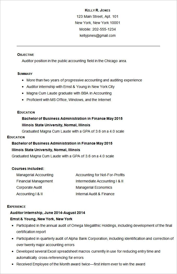 cpa resume template
