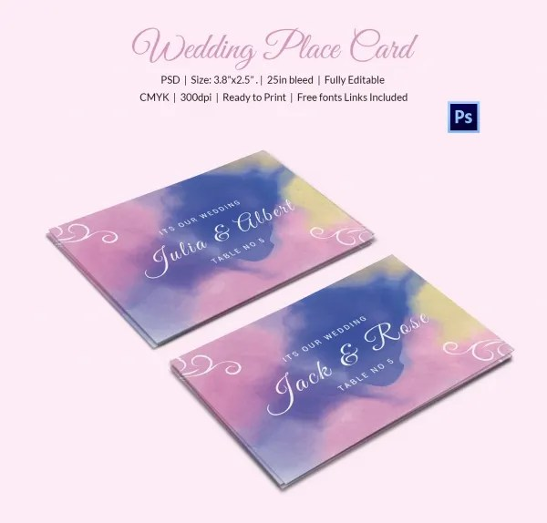Watercolor Wedding Place Card Template