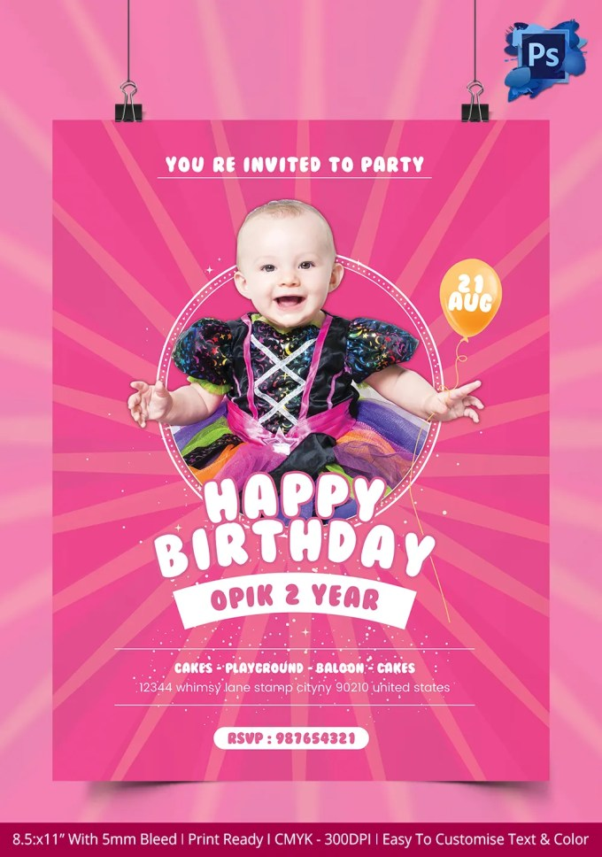 Birthday Party Invitation Flyer Template Free Dulahotw