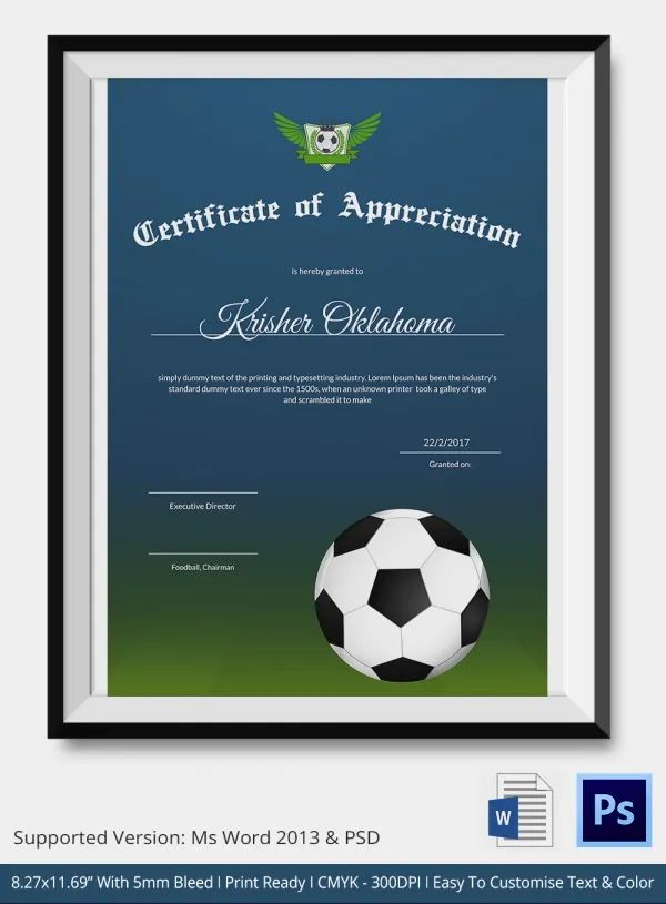 Free Football Certificates Templates Resume Examples