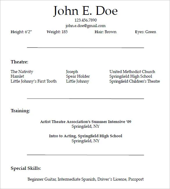 Theatre Resume Templates 10 Acting Resume Templates Free Samples