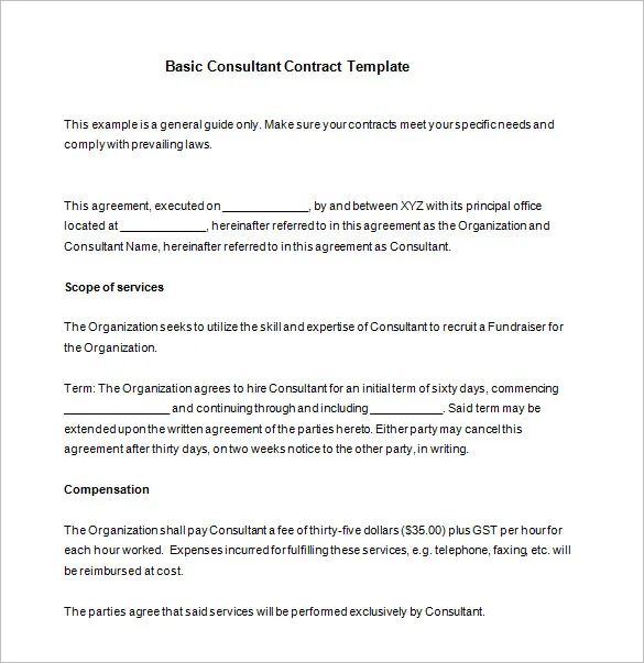 free consultant contract template