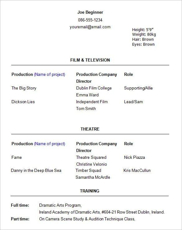 Example Acting Resume 10 Acting Resume Templates Free Samples