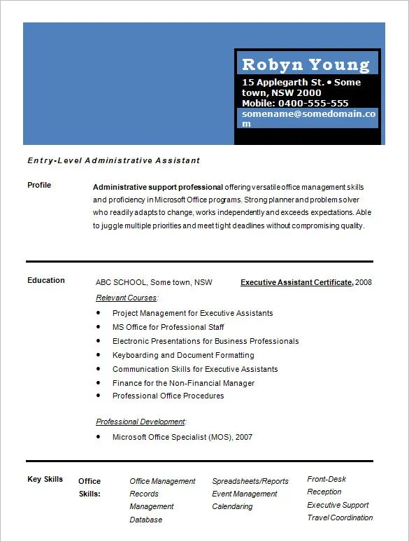 single page word document resumes examples
