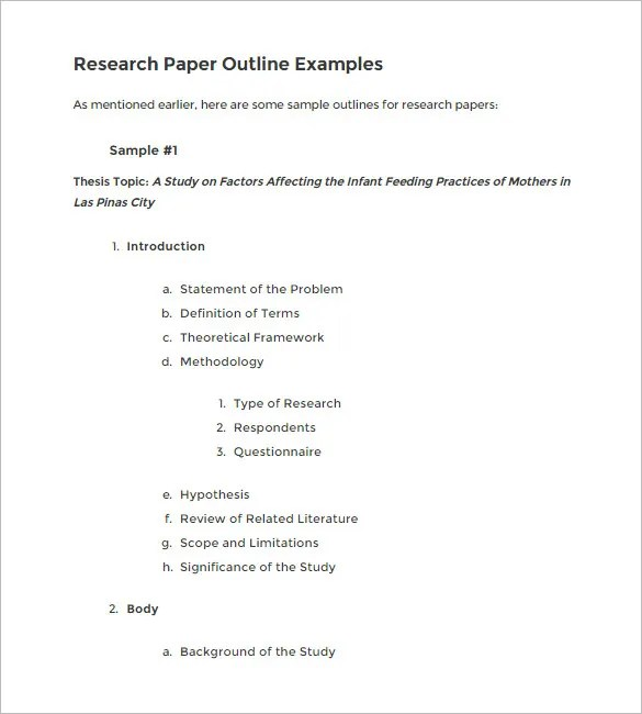 Sample Research Paper Outline Apa Hospi Noiseworks Co