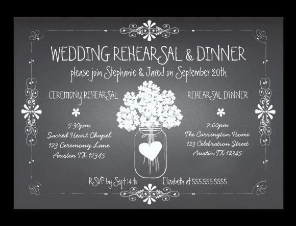 Chalkboard Wedding Rehearsal Dinner Invitation