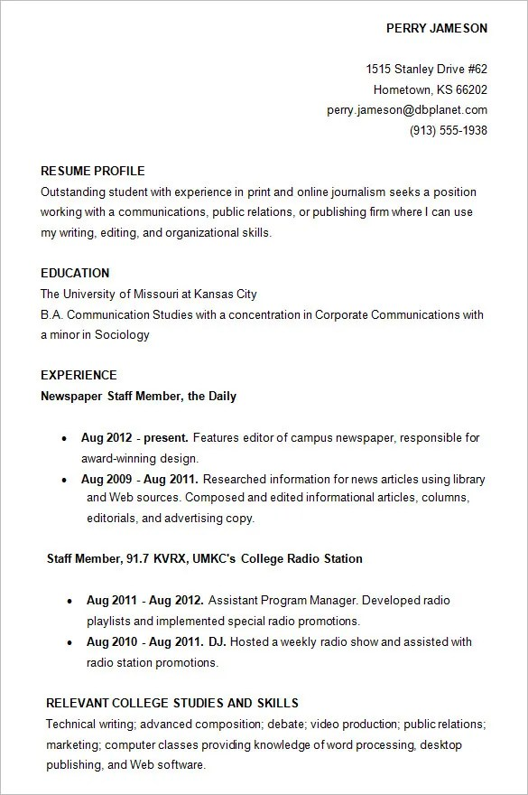 College Resume Sample 10 College Resume Templates Free Samples
