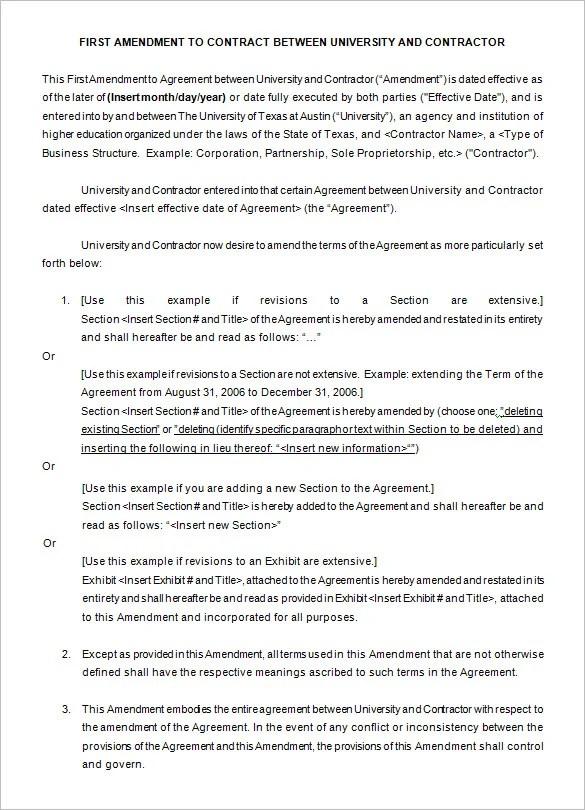 8 Contract Amendment Templates Word PDF Google Docs