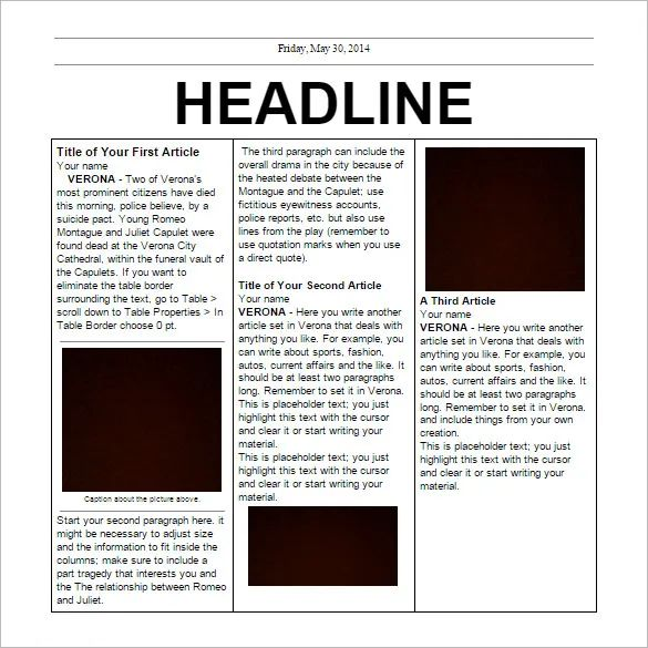 newspaper template on google docs