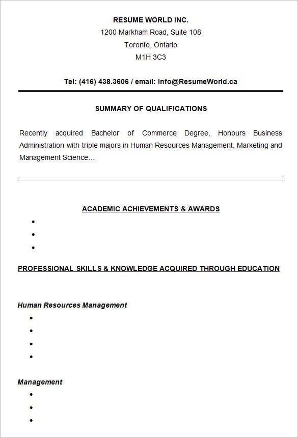 Resume Format Examples For College Students | The Best Template