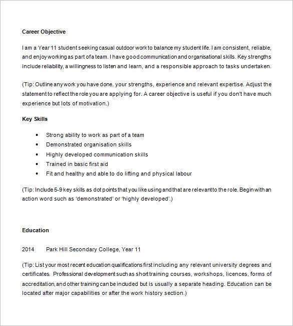 Resume Examples For High School Students  Examples Of Resumes