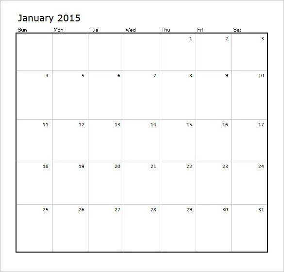 excel monthly calendar template 2015