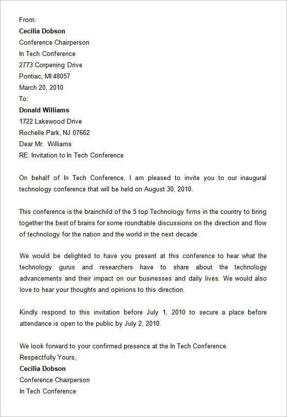 25 Landscape Conference Invitation Letter Sample Pictures And Ideas