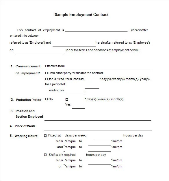 working contracts templates - April.onthemarch.co
