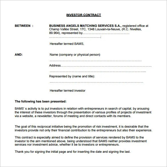 12 Investment Contract Templates  Word PDF Google Docs Apple Pages  Free  Premium Templates