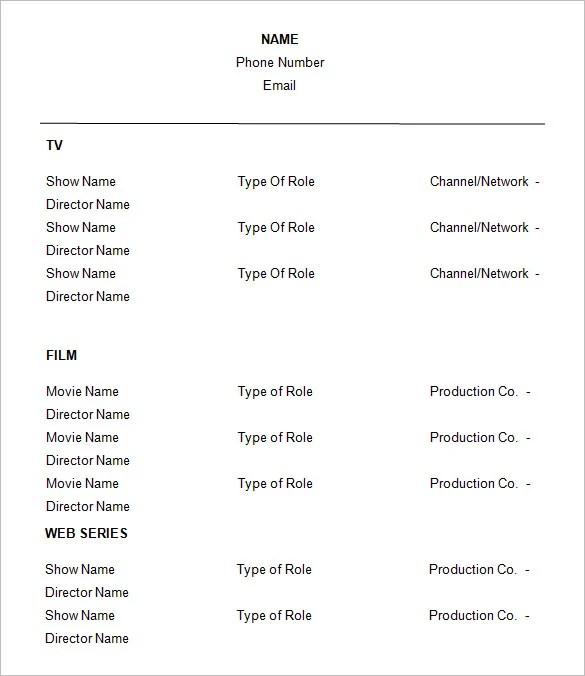 Actor Resume Template - Resume Sample