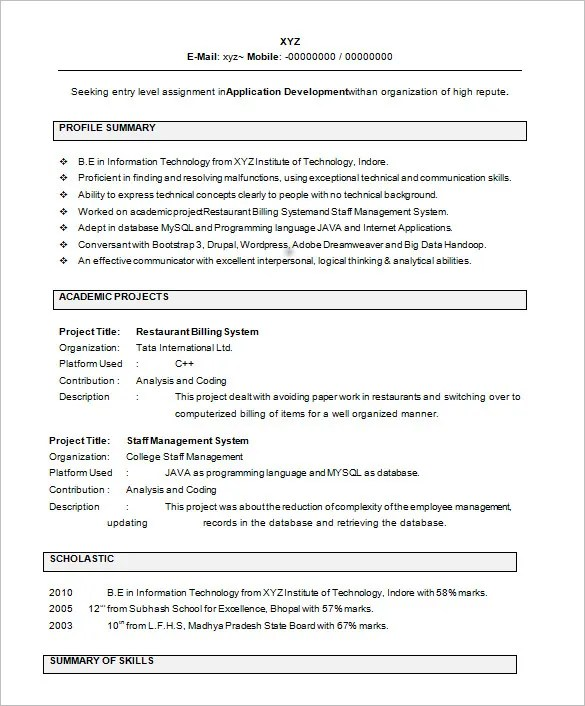 28 Resume Templates For Freshers Free Samples Examples