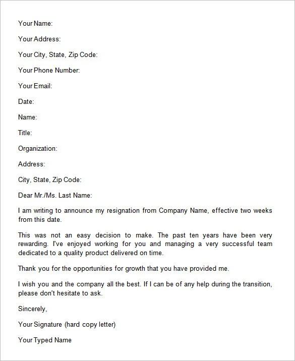 Resignation Letter Format For Career Change | Resume Pdf ...