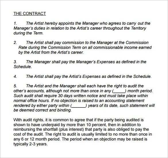 Artist Management Contract Template Letsridenow Com