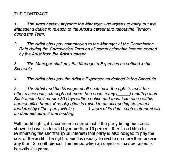 Artist Management Contract Template Letsridenow Com