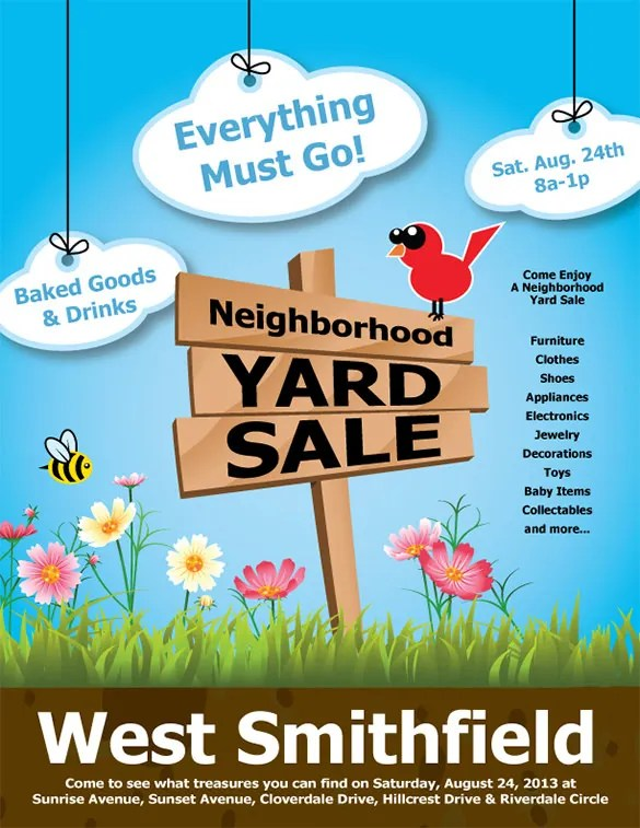20+ Best Yard Sale Flyer Templates & Psd Designs  Free