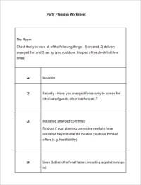 Party Planning Worksheet. party planning worksheet budget