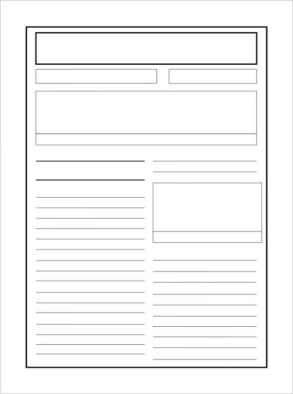 make a newspaper article template
