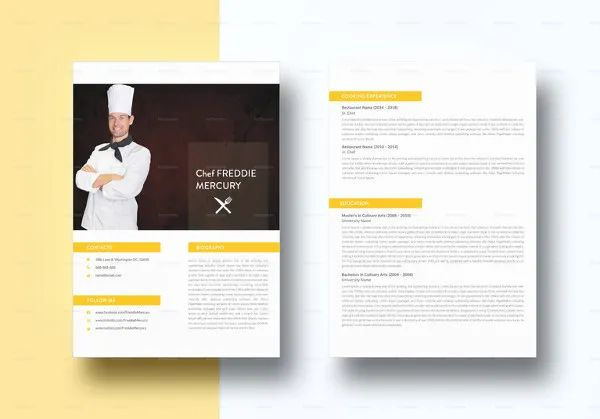 culinary resume template free