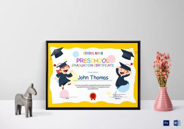 pre k certificate