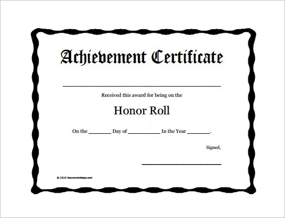 8+ Printable Honor Roll Certificate Templates & Samples