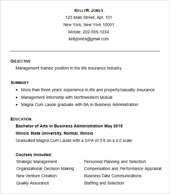 business resume example 2015