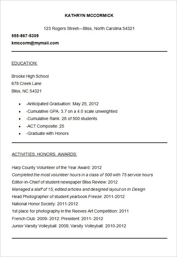 College Application Resume Template 28 Images College Resume