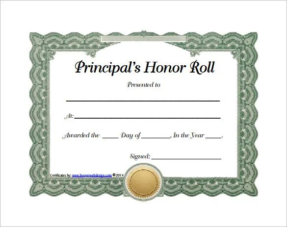 printable honor roll certificate