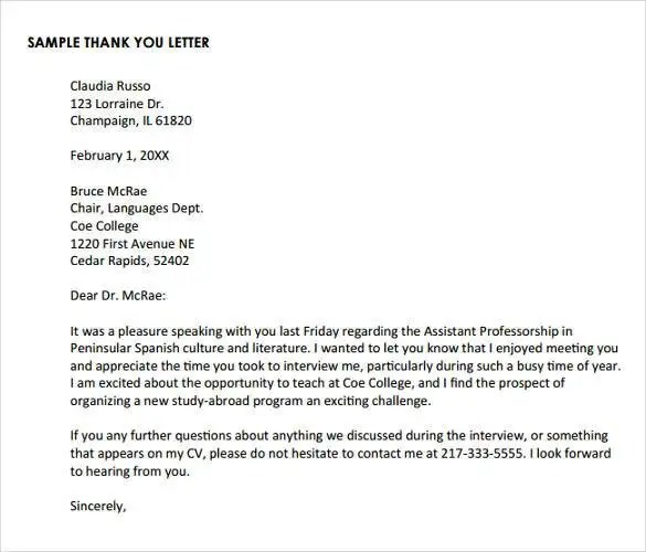 Thank You Letter After Phone Interview  17+ Free Sample, Example Format Download  Free