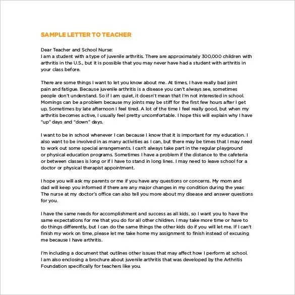 Thank You Letter To Teacher 12 Free Word Excel PDF