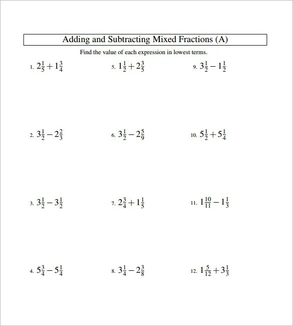 15+ Adding And Subtracting Fractions Worksheets  Free PDF