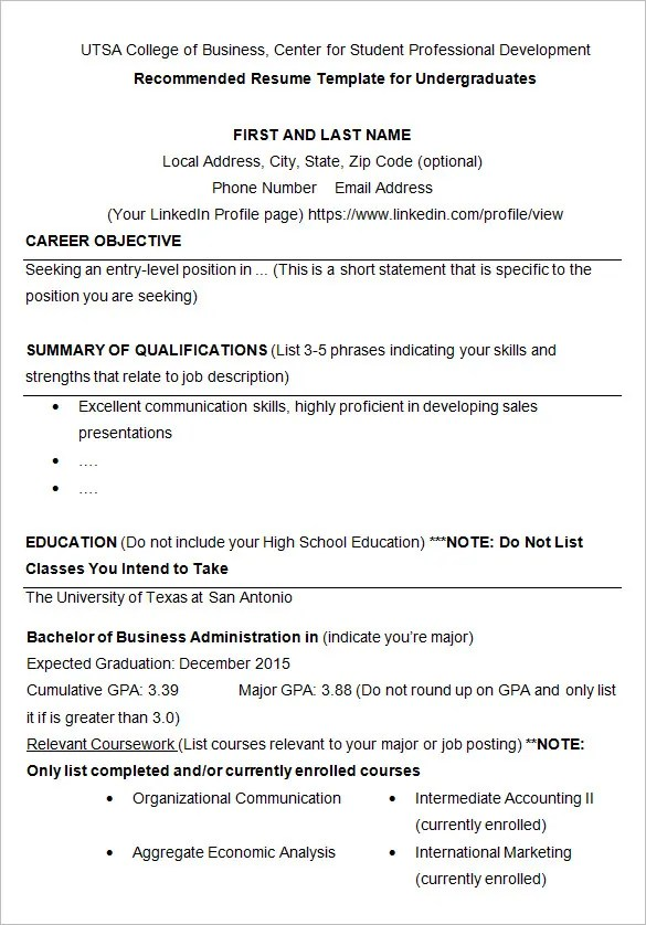 Resume Templates College 10 College Resume Templates Free Samples
