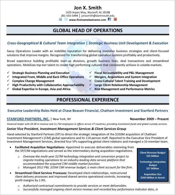 free executive resume template
