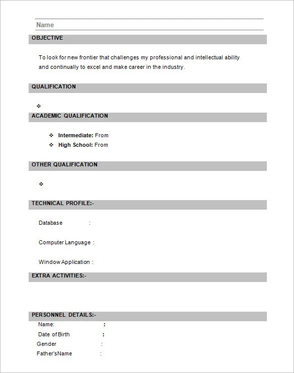 resume format mca resume template for fresher pdf download - Resume Model For Freshers