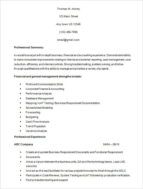 junior business analyst sample resume pdf