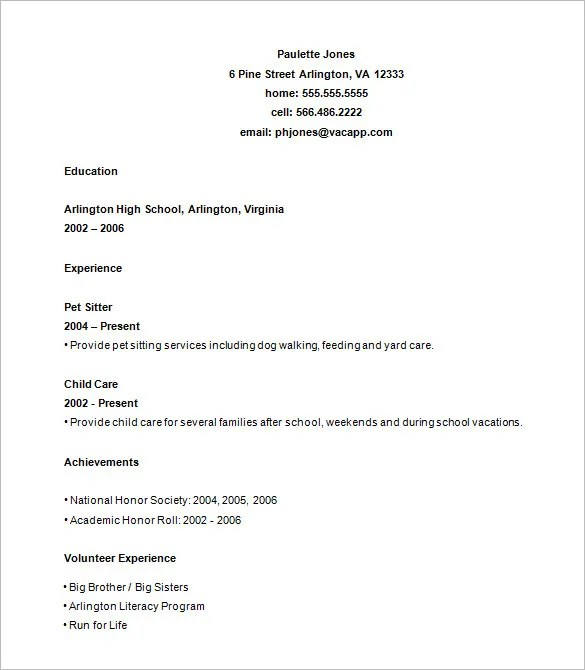 Resume Example For High School Student 10 High School Resume