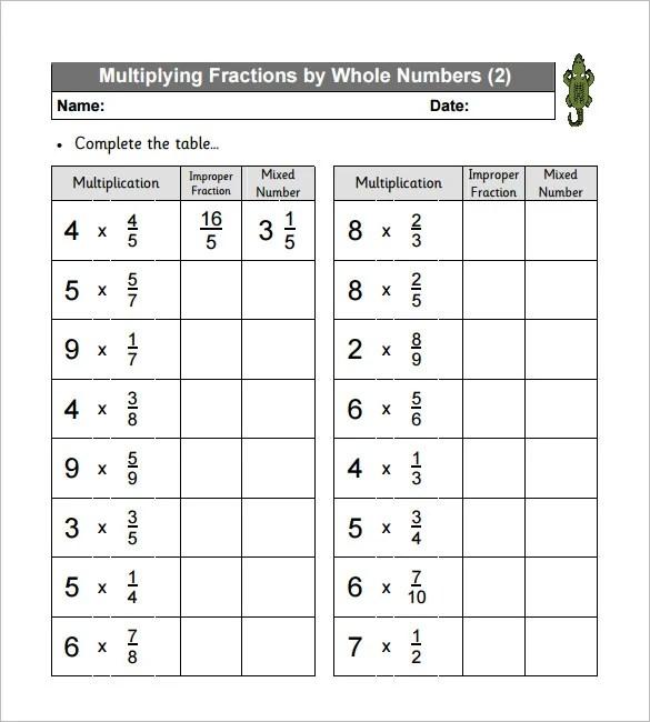 10 Multiplying Fractions Worksheet Templates