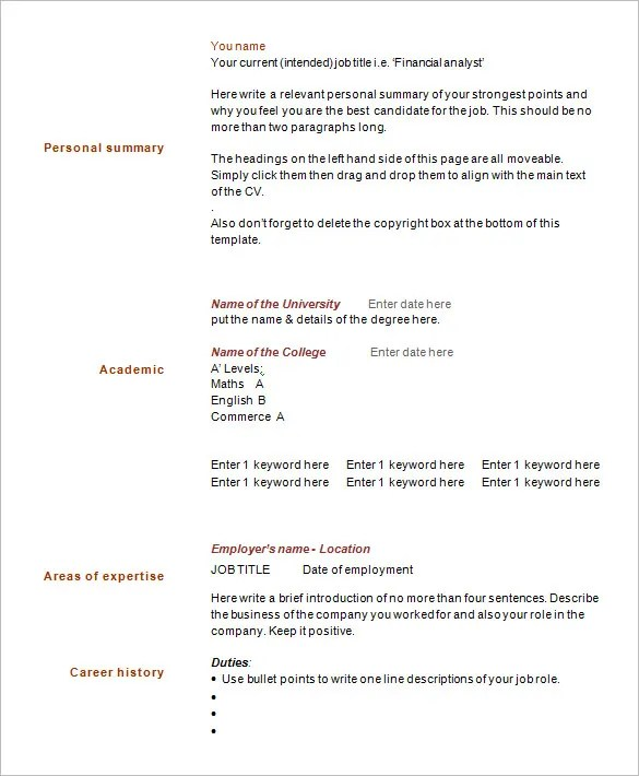 Example One Page Resume  Examples Of Resumes